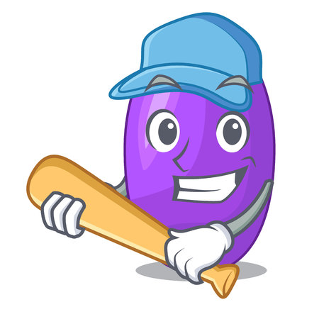 Playing baseball fruit jambolan in the character bowl vector illustartion
