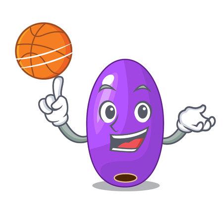 Avec jambolan de fruits de basket-ball dans l'illustration vectorielle de bol de personnage