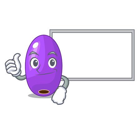 Le pouce levé avec le jambolan de fruits de la planche dans l'illustration vectorielle du bol de personnage