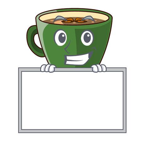 Grinning with board indian masala tea in cartoon glas vector illustartion