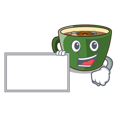With board indian masala tea in cartoon glas vector illustartion Illustration