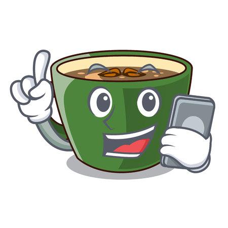 With phone indian masala tea in cartoon glas vector illustartion Stock Illustratie