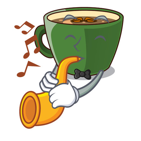 With trumpet Indian masala tea in cartoon cup Illustration