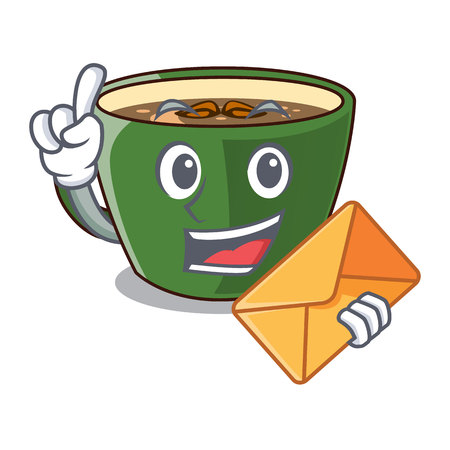 With envelope Indian masala tea on character board vector illustration