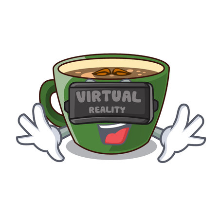 Virtual reality Indian masala tea in cartoon cup vector illustartion
