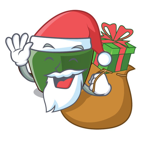 Santa with gift indian masala tea isolated on mascot vector illustration