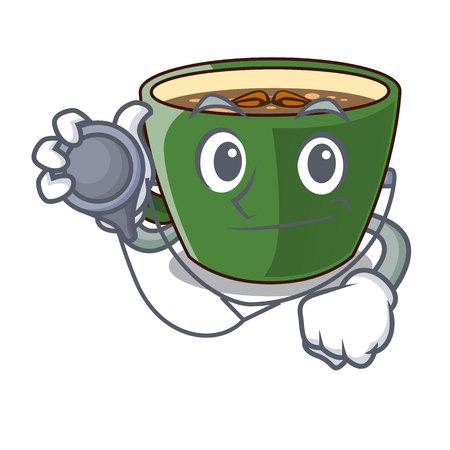 Doctor indian masala tea in cartoon glas vector illustartion Stock Illustratie