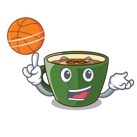 With basketball indian masala tea in cartoon glas vector illustartion
