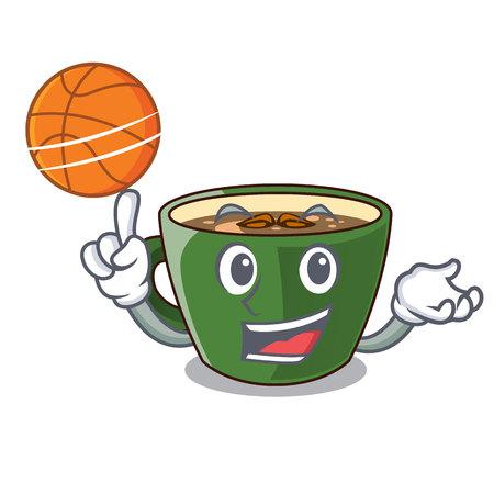 With basketball indian masala tea in cartoon glas vector illustartion