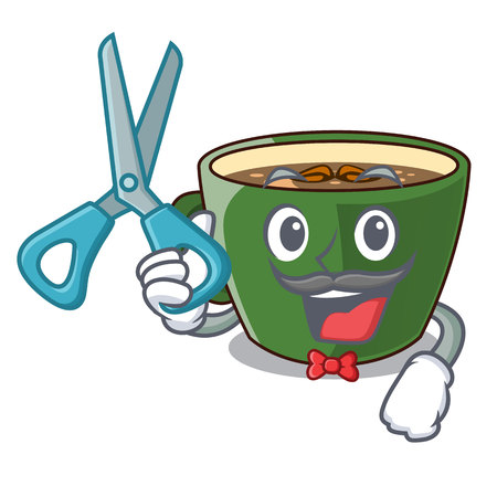 Barber indian masala tea in cartoon glas vector illustartion Illustration