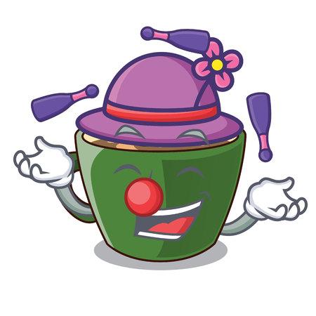 Juggling indian masala tea isolated on mascot vector illustration
