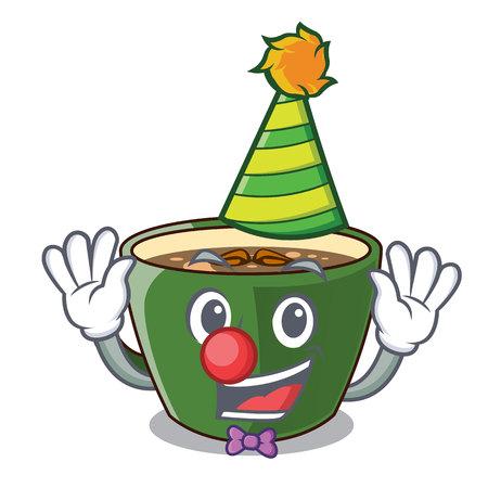 Clown indian masala tea isolated on mascot vector illustration