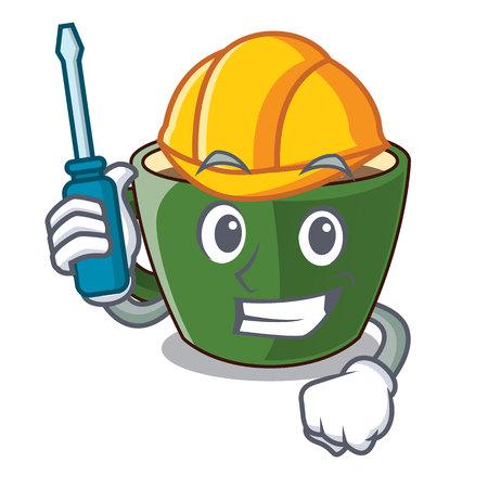 Automotive indian masala tea isolated on mascot vector illustration