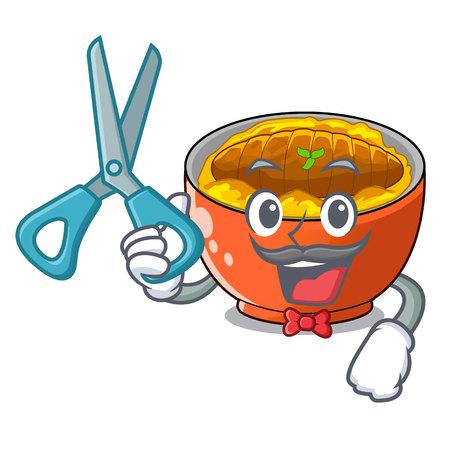 Barber katsudon cartoon is ready to eaten vector illustartion  イラスト・ベクター素材