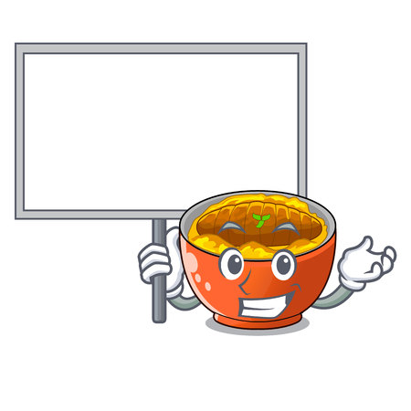 Bring board katsudon cartoon is ready to eaten vector illustartion
