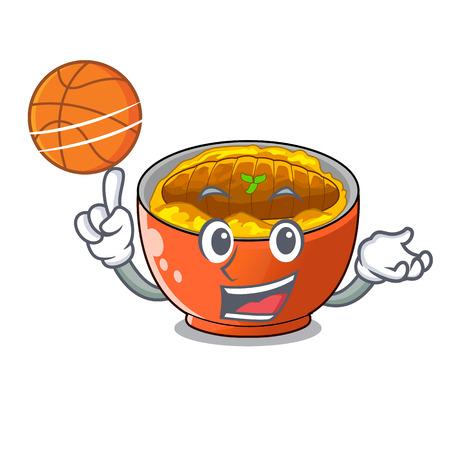 With basketball katsudon cartoon is ready to eaten vector illustartion