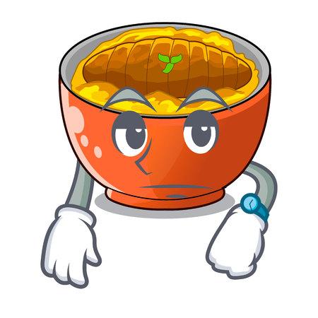 Waiting katsudon is served on mascot plate vector illustartion