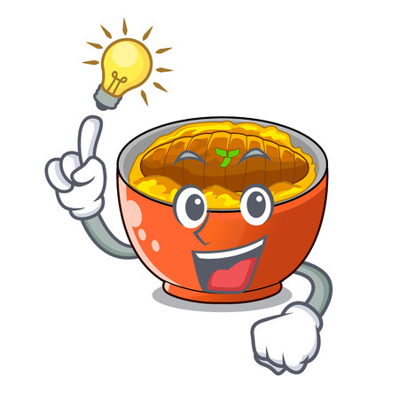 Have an idea katsudon is served on mascot plate vector illustartion Ilustração