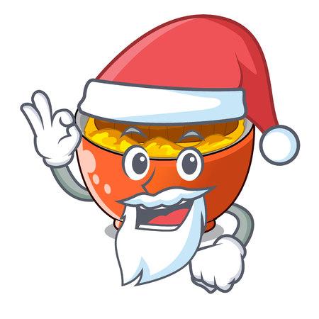 Santa katsudon is served on mascot plate vector illustartion Çizim