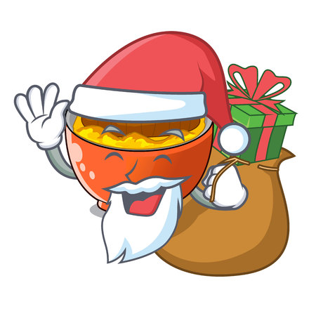 Santa with gift katsudon is served on mascot plate vector illustration