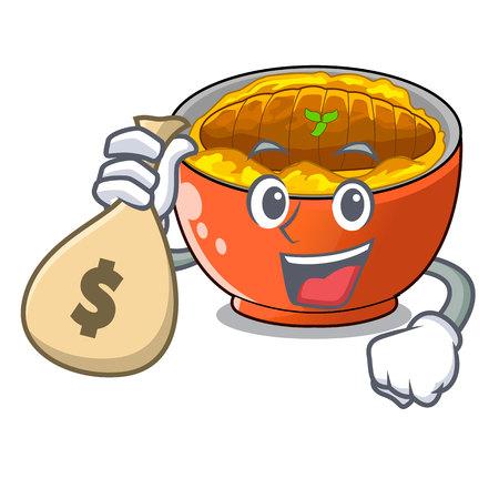 With money bag katsudon cartoon is ready to eaten vector illustartion 矢量图像