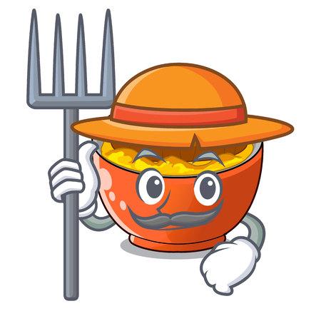 Farmer katsudon cartoon is ready to eaten vector illustration
