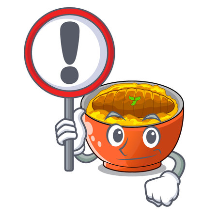 With sign katsudon cartoon is ready to eaten vector illustartion