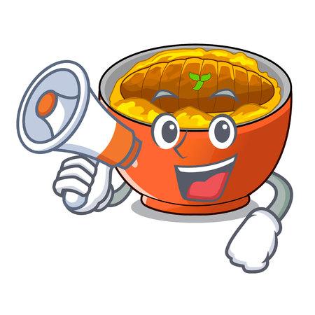 With megaphone katsudon cartoon is ready to eaten vector illustartion  イラスト・ベクター素材