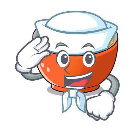 Sailor katsudon cartoon is ready to eaten vector illustartion  イラスト・ベクター素材
