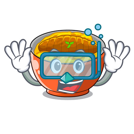 Diving katsudon sauce in the character bowl vector illustration