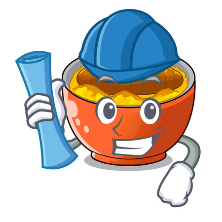 Architect katsudon sauce in the character bowl vector illustration