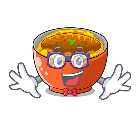 Geek katsudon sauce in the character bowl vector illustration