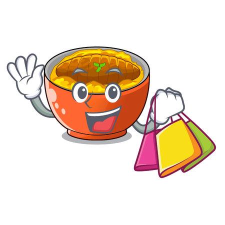 Shopping katsudon sauce in the character bowl vector illustration Ilustracja