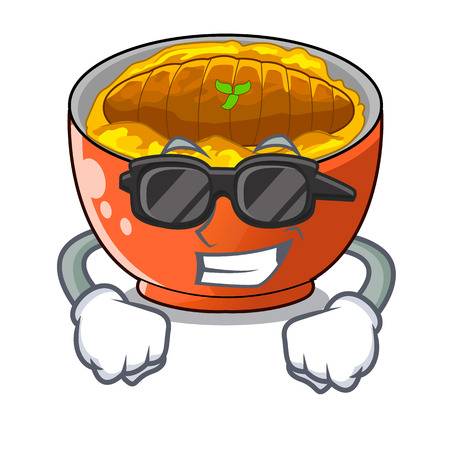super coolkatsudon sauce in the character bowl vector illustration