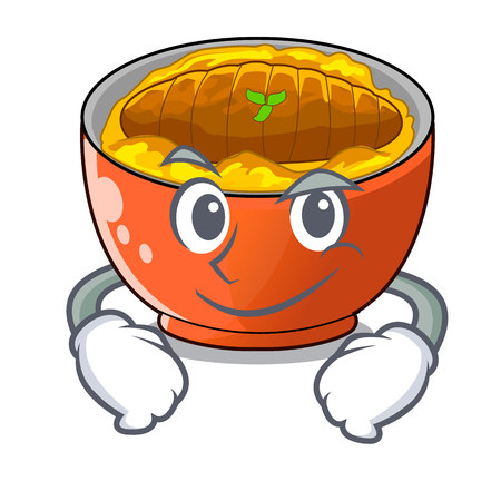 Smirking katsudon sauce in the character bowl vector illustration Illustration