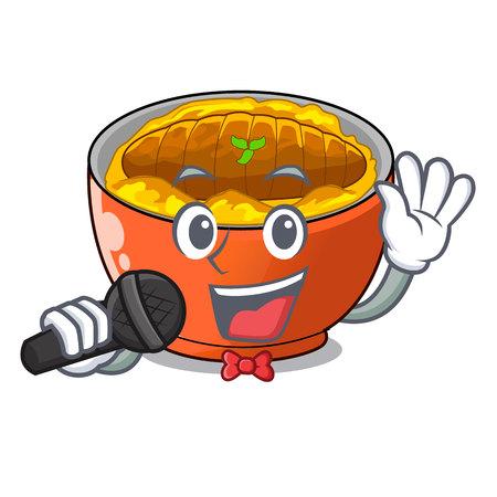 Singing hot katsudon on the cartoon table vector illustartion