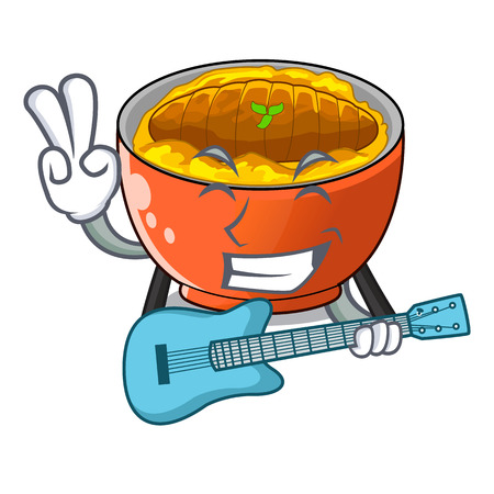 With guitar hot katsudon on the cartoon table vector illustartion