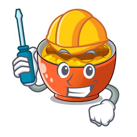 Automotive katsudon is served on mascot plate vector illustartion 일러스트
