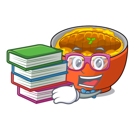 Student with book katsudon is served on mascot plate vector illustartion Illustration