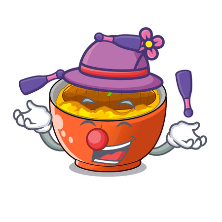 Juggling katsudon is served on mascot plate vector illustartion