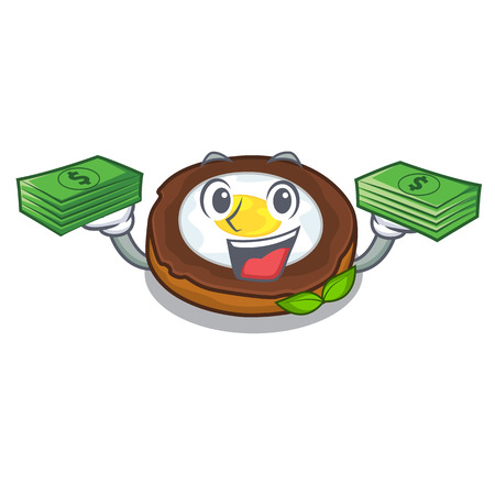 With money bag egg scotch on character wood boards Illustration