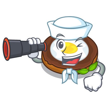 Sailor with binocular egg scotch on character wood boards Illustration