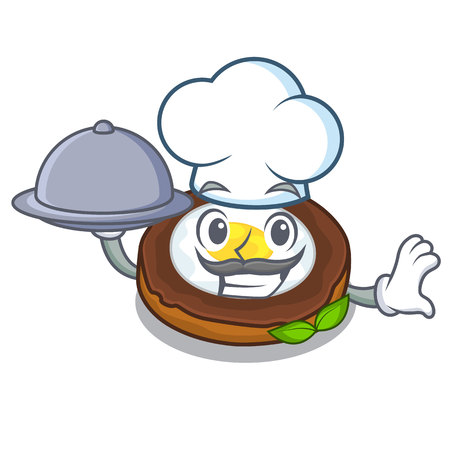 Chef with food egg scotch on character wood boards