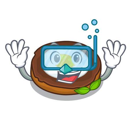 Diving egg scotch served on cartoon plates Illustration