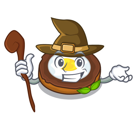 Witch egg scotch on character wood boards vector illustartion