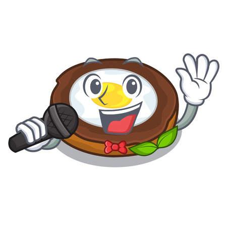 Singing egg scotch on character wood boards vector illustartion