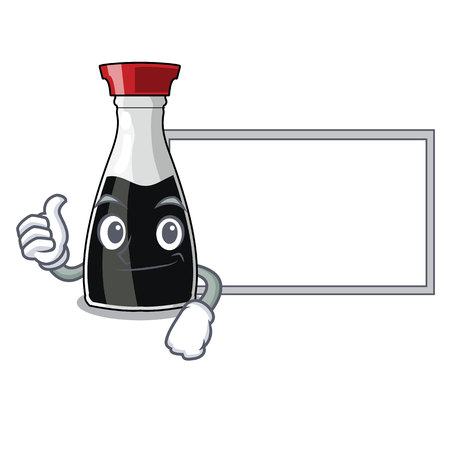 Thumbs up with board soy sauce in a cartoon bottle vector illustartion