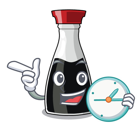 With clock soy sause in the character bowl vector illustration