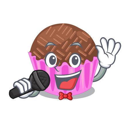 Singing bragadeiro presented in the character jar vector illustartion