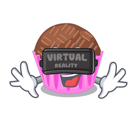 Virtual reality bragadeiro presented in the character jar vector illustartion Illustration